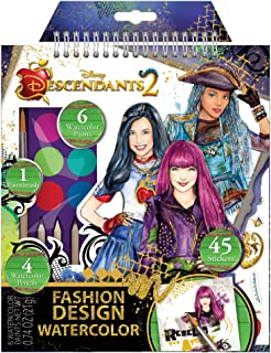 Make It Real - Disney Descendants Watercolor Small. Disney Inspired Water Coloring Book for Girls. Includes Evie Watercolor Sketchbook, Paint Brushes, Watercolor Paints, Stencils, Stickers, and More