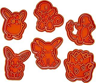 Set di 6 Tagliabiscotti ispirati ai Pokemon (Picachu, Charmander, Squirtle, Clefairy, Wigglytuff)