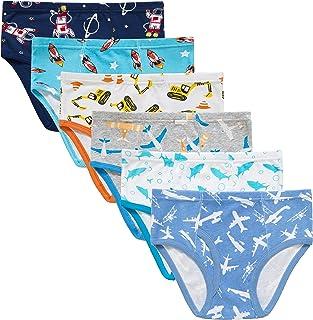Slenily Little Boys Briefs Dinosaur Truck Toddler Kids Underwear Soft Cotton Undies(Pack of 6)