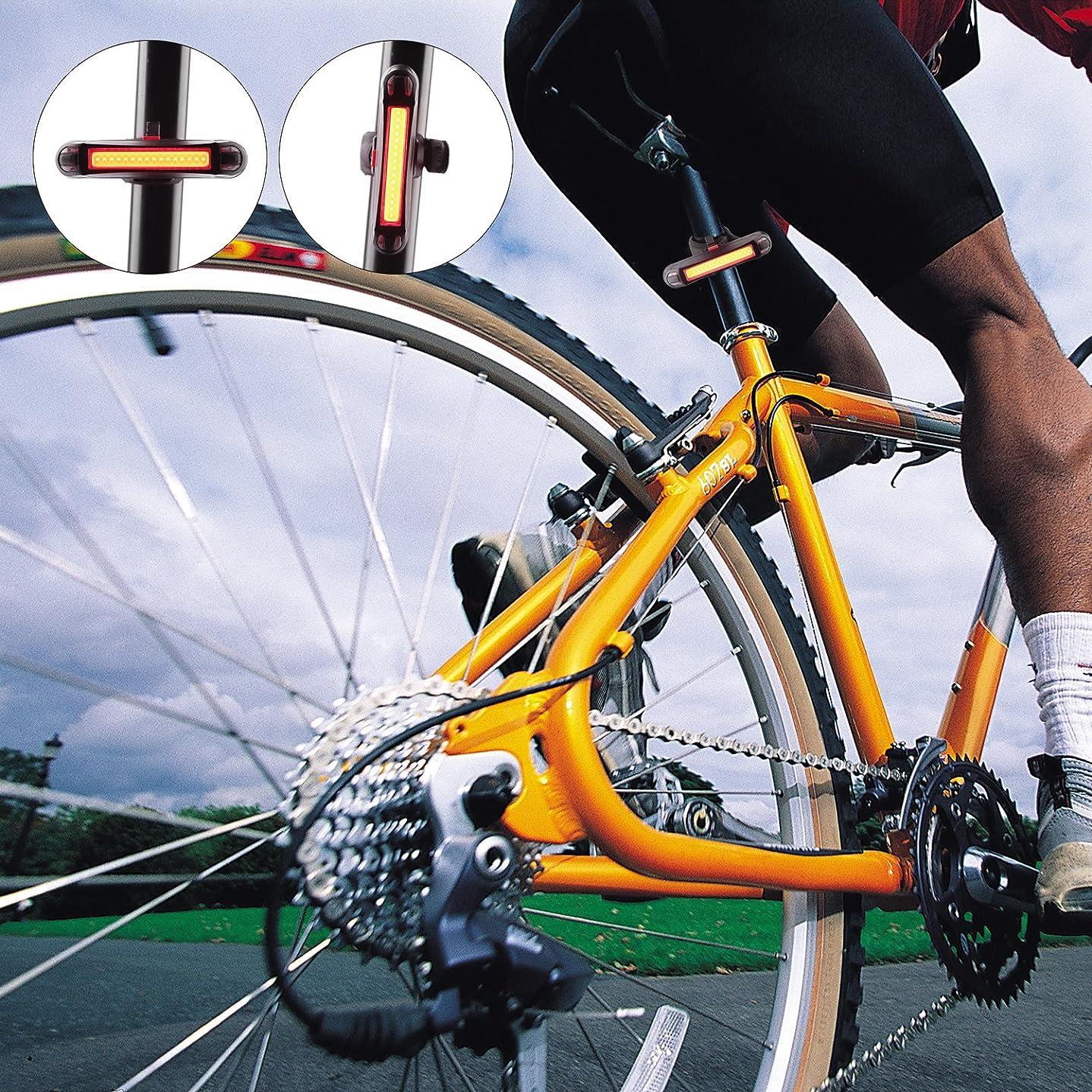 免除する地図リア王強力で防水性のあるCOBバイクテールライト、ローチェースUSB充電式120ルーメン自転車テール懐中電灯はすべての自転車やヘルメットに装着でき、夜間のサイクリングに最適なリアライト [並行輸入品]