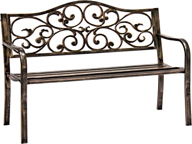 Best Choice Products 50in Classic Steel Garden Bench Chair Furniture for Outdoor, Patio, Yard, Lawn w/Floral Scroll Design -