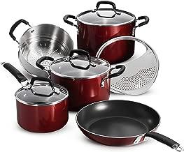Tramontina 80151/565DS Porcelain Enamel Heavy-Gauge Aluminum Nonstick Cookware Set, 9-Piece, Made in USA, Red Rhubarb