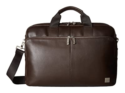KNOMO London Brompton Classic Amesbury Double Zip Briefcase (Brown) Briefcase Bags