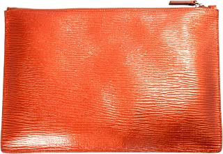 100% Leather Gold Women's Clutch Bag