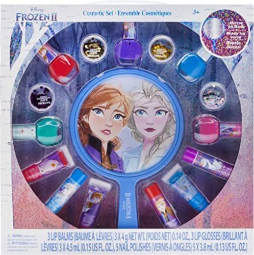 Townley Girl Disney Frozen 2 Non-Toxic Peel-Off Nail Polish, Lip Gloss and Mirror Set for Girls, Glittery and Opaque ...