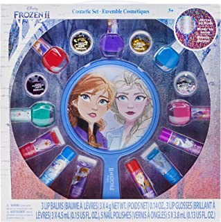 Townley Girl Disney Frozen 2 Non-Toxic Peel-Off Nail Polish, Lip Gloss and Mirror Set for Girls, Glittery and Opaque Color...