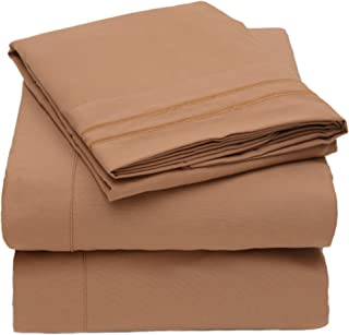 Olivia Branch 1800 Prime Collection - Soft and Cozy Sheet Sets - Wrinkle Resistant, deep Pocket, and Luxury Hotel Quality - Over in Twin, Full, Queen, King and Cal King - Queen Mocha