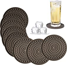 Coasters for Drinks Absorbent, Rubber Brown Coasters Set of 8, Large Silicone Drink Coasters for Furniture Protection, Deep Tray 4.3 Inch Oval Shape Reusable Heat-Resistant Mat by Kindga