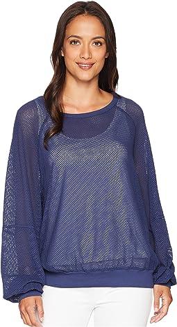 Mesh Long Sleeve Open Neck Sweatshirt