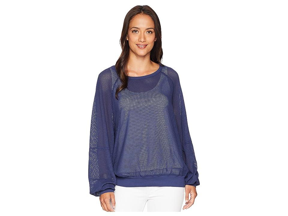 Michael Stars Mesh Long Sleeve Open Neck Sweatshirt (Passport) Women