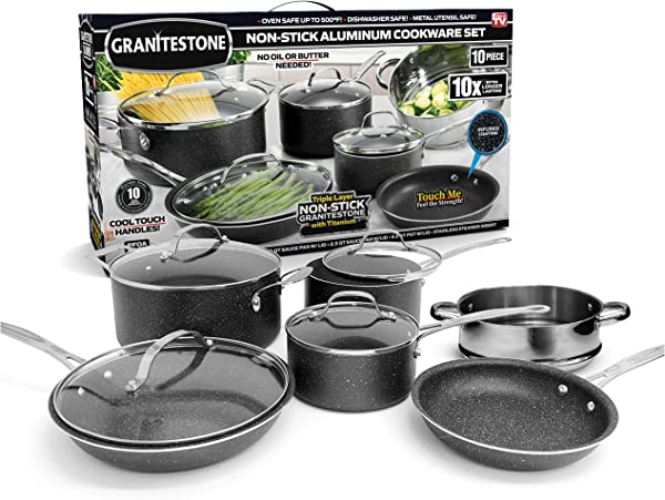 GRANITESTONE 10 Piece Nonstick Cookware Set Scratch Resistant Granite Coated Anodized Aluminum Dishwasher Safe PFOA Free As Seen On TV