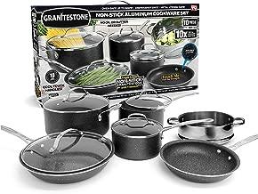 GRANITESTONE 10-Piece Nonstick Cookware Set, Scratch-Resistant, Granite-coated Anodized Aluminum, Dishwasher-Safe, PFOA-Free As Seen On TV
