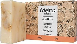 Meina Naturkosmetik - Seife mit Orange und Zimt 1 x 100 g Palmölfrei, Natürlich, Vegan, Handgemacht, Bio Naturseife - Körperpflege und Gesichtspflege