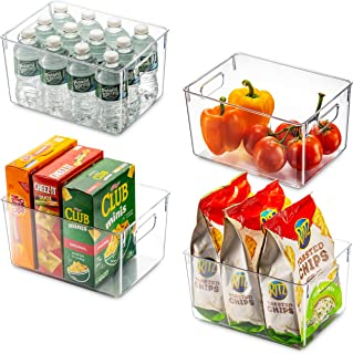 Set Of 4 Clear Pantry Organizer Bins Household Plastic Food Storage Basket with Cutout Handles for Kitchen, Countertops, C...