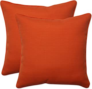 "Pillow Perfect Outdoor/Indoor Sundeck Throw Pillows, 16.5"" x 16.5"", Orange, 2 Pack"