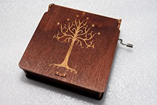 White Tree Of Gondor - Lord Of The Rings Music Box - The Hobbit LOTR Gandalf - Engraved Wooden Box - Hand Crank Movement
