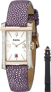 Bulova Diamond Women's White Dial Leather Band Watch - 98R197