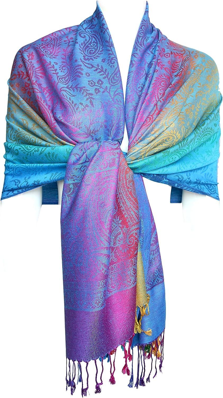 KMystic Colorful Silk Pashmina Scarf Shawl Wrap Navy