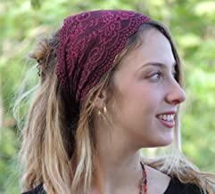 Stunning Bordeaux Stretchy Lace Headband Bandana, Tichel, Head Covering, Scarf, Half Coveing, Pre-tied, Loss Hair