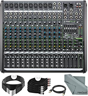 Mackie PROFX16V2 16-Channel Compact Mixer with Built-In Effects and Basic Accessory Bundle with Fibertique Cloth + Cables