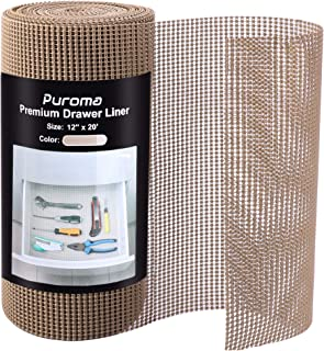 Puroma 12 Inch x 20 FT Drawer and Shelf Liner, Drawer Cabinet Non-Adhesive Protection, Durable and Strong Grip Liners for ...