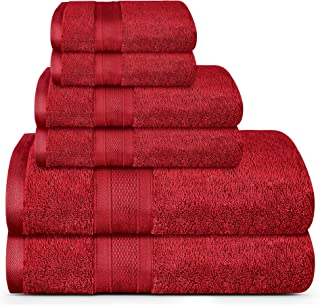 TRIDENT Soft and Plush, 100% Cotton, Highly Absorbent, Bathroom Towels, Super Soft, 6 Piece Towel Set (2 Bath Towels, 2 Hand Towels, 2 Washcloths), 500 GSM, Crimson
