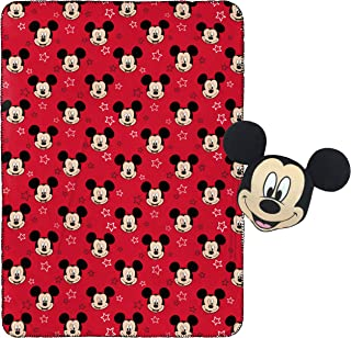 "Jay Franco Mickey Mouse Plush Pillow and 40"" Inch x 50"" Inch Throw Blanket - Kids Super Soft 2 Piece Nogginz Set (Official Product)"