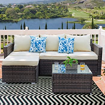 Amazon.com: Patio Sectional Set - 3 Piece Outdoor ...