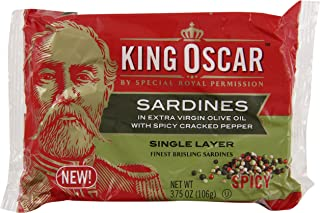 King Oscar Sardines in Extra Virgin Olive Oil with Spicy Cracked Pepper, Single Layer, 3.75 Ounce (Pack of 12)
