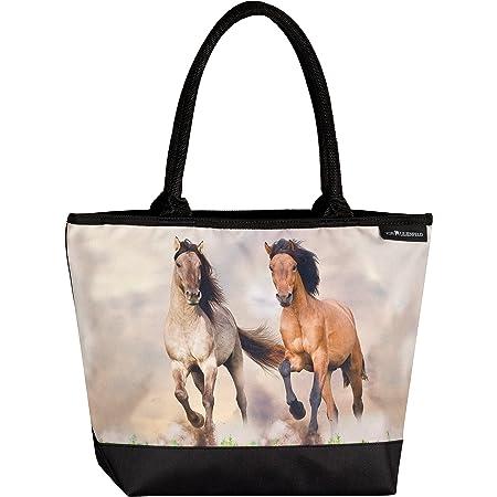 VON LILIENFELD Handtasche Damen Motiv Wildpferde Shopper Maße L42 x H30 x T15 cm Strandtasche Henkeltasche Büro