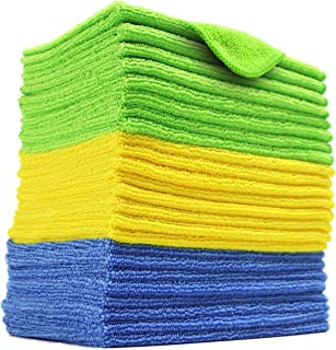 Polyte Microfiber Cleaning Cloth, 12 x 16 in (24 Pack, Blue,Green,Yellow)