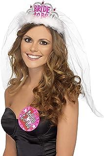 Smiffy's-31913 Tiara con velo Bride to Be, con impresión en rosado, color blanco, No es applicable (31913) , color/modelo surtido