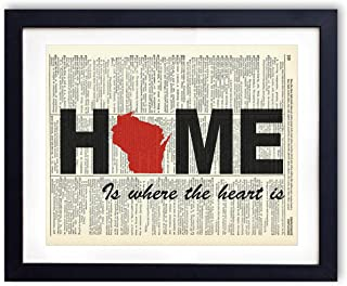 Wisconsin Home Is Where The Heart Is Upcycled Vintage Dictionary Art Print 8x10