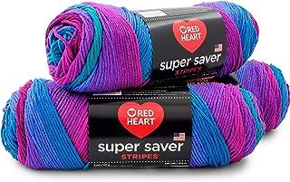 RED HEART E300PK.4960 Super Saver 3-Pack Yarn, Polo Stripe 3 Pack