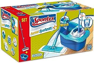 Spontex Express System - Set de Limpieza, Mopa con Microfibra y Cubo, Azul