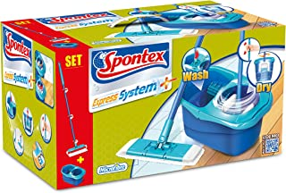 Spontex - Express System - Kit Balai Plat + Seau Essoreur Rotatif - Essorage Automatique Optimal - 1 Kit