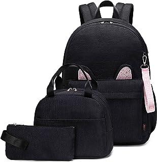 Joymoze Stylish Shimmer Cat Ears Cute School Backpack Set for Teen Girl