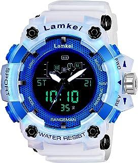 Lamkei Army Analouge Digital Blue Black Dial White Transparent Silicon Strap Sport Watch for Men