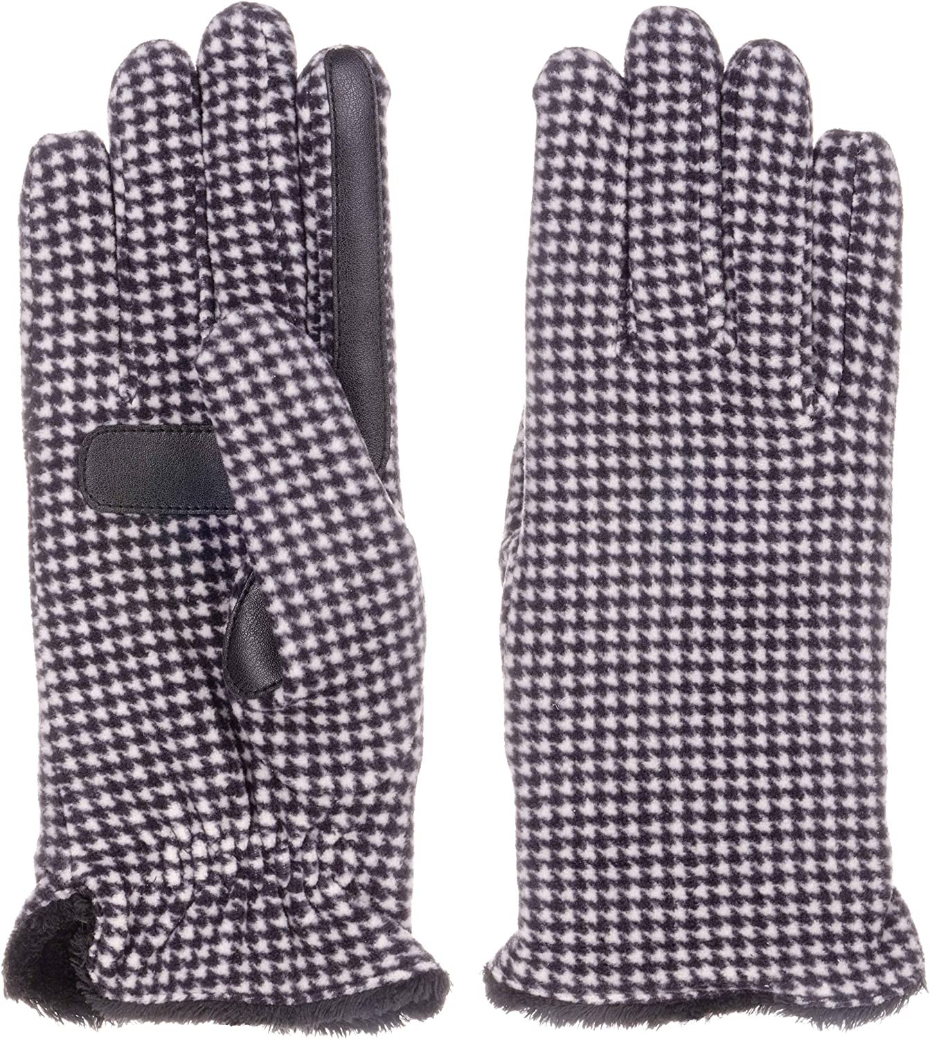 Isotoner womens Stretch Fleece Glove - Microluxe Houndstooth One Size