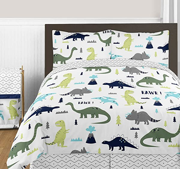Sweet Jojo Designs 3 Piece Navy Blue And Green Modern Dinosaur Boys Or Girls Full Queen Bedding Childrens Teen Set