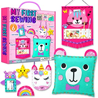 KRAFUN My First Sewing Kit for Kids Age 7 8 9 10 11 12 Beginner Art & Craft, Includes 6 Easy Projects Dolls and Pillows, I...