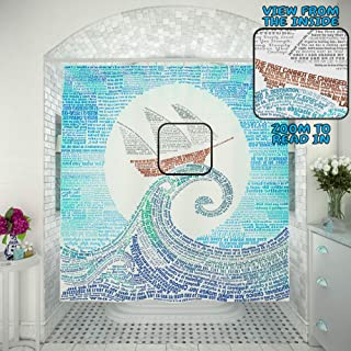 Nautical 2in1 Shower Curtain – Read in- Blue Bathroom Set 250 Quotes Motivational Ocean & Ship Unique Sunrise Design, Cool Wave and Sun Inspirational Curtains Sea Navy