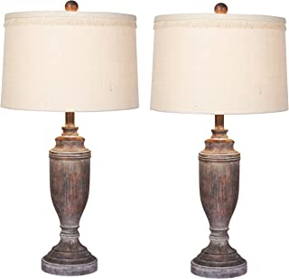 Cory Martin W-6246CABR-2PK Distressed Formal Urn Resin Table Lamps (2 Set), 29.5