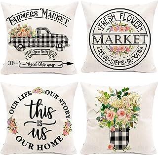 Hexagram Floral Farmhouse Pillow Covers 20x20 Set of 4, Buffalo Plaid Spring Pillow Covers,Farmhouse Truck with Flower Dec...