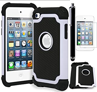 Bastex Hybrid Armor Shockproof Case for Apple iPod Touch 4, 4th Generation • Cream White & Black (Includes Screen Protector and Stylus)