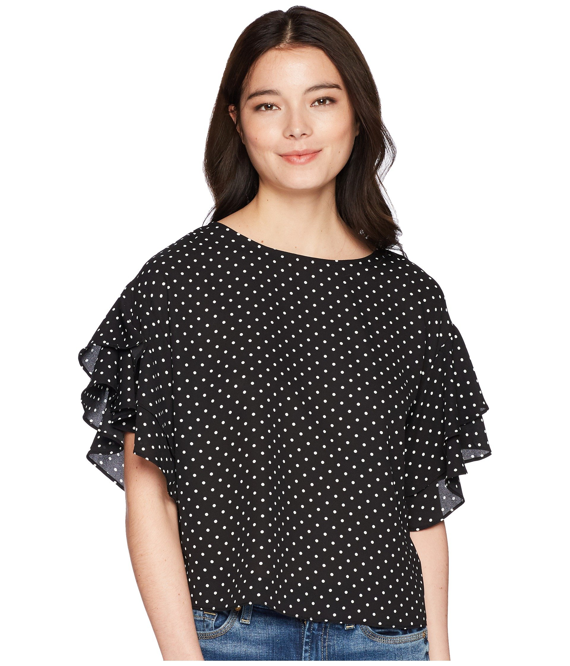 Vince Camuto Specialty Size Womens Petite Tiered Ruffle Sleeve Poetic Dots Blouse