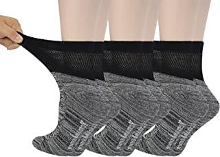 Women's 6 Pairs Bamboo Diabetic Ankle Socks with Non-Binding Top And Cushion Sole,L Size(Socks Size:9-11)