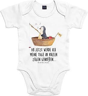 Mr. & Mrs. Panda Mr. & Mrs. Panda Strampler, Bodysuit, 3-6 Monate Baby Body Pinguin Angelboot mit Spruch - Farbe Transparent