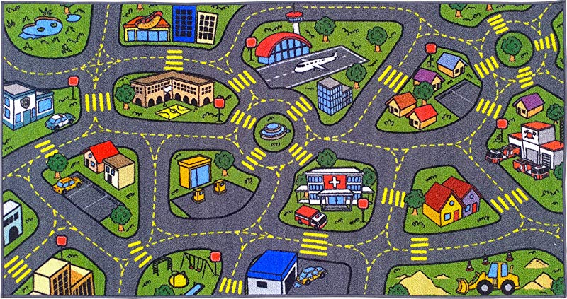 Jungtier KCP010032 2x5 Fun Time Retro City Traffic Car Road Map Educational Learning Game Area Rug Carpet For Kids And Children Bedrooms And Playroom 2 7 X 5 0 Multi