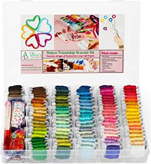 Premium DIY Friendship Bracelet String Kit Embroidery Thread and Accessories - Colors are Coded as DMC Embroidery Floss - Cross Stitch, String, Thread Craft Supplies - Perfect Gift for Girls 7 to 12
